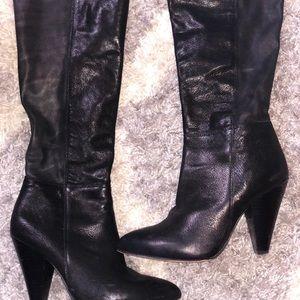 Black boot high heels